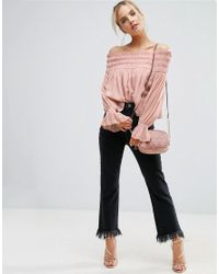 ASOS - Pink Off Shoulder Top With Shirring - Lyst