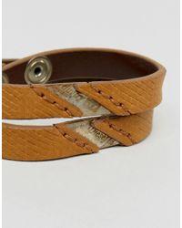 DIESEL - Alucy Wrap Leather Bracelet In Green for Men - Lyst