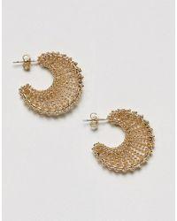Pieces | Metallic Hoop Earrings | Lyst