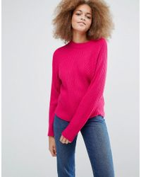 Monki - Pink Knitted Sweater With Rib - Lyst