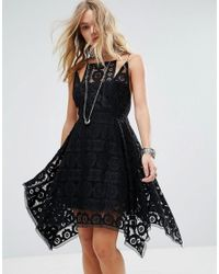 Free People - Black Just Like Honey Lace Drape Hem Dress - Lyst