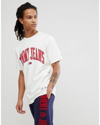 268dcaad50a530 Hilfiger Denim - Tommy Jeans Collegiate Capsule T-shirt In White for Men -  Lyst