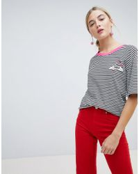 Chorus - Black Heart Hands Embroidered Stripey T-shirt - Lyst