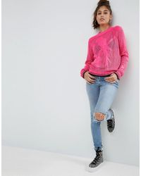 ASOS - Pink Jumper With Parrot Stitch - Lyst