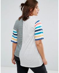 ASOS - Blue T-shirt In Oversized Fit And Mix And Match Stripes - Lyst