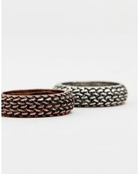 Reclaimed (vintage) - Multicolor Inspired Ring Pack With Emboss Exclusive At Asos for Men - Lyst
