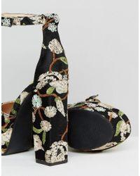 Public Desire - Ultra Black Embroidered Platform Heeled Shoes - Lyst