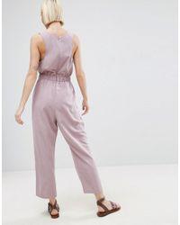 ASOS - Purple Minimal Jumpsuit With Waist Detail - Lyst