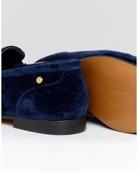 Tommy Hilfiger - Blue Velvet Loafer With Star Snaffle - Lyst