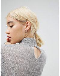 ASOS - Metallic Sterling Silver Single Mismatch Charm Hoop Earrings - Lyst