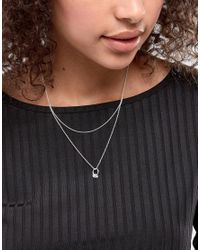 ASOS - Metallic Sterling Silver Linked Circles Multirow Necklace - Lyst