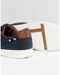 Jack & Jones - Blue Rayne Faux Leather Sneakers In Navy for Men - Lyst