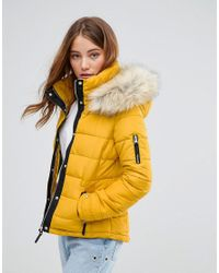 dddb8de55e22 Pimkie Padded Coat With Faux Fur Hood in Yellow - Lyst