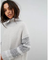 AllSaints | White Keats Oversized Funnel Neck Sweater With Contrast Panels | Lyst