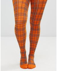006553de695 Weekday Checked Tights in Orange - Lyst