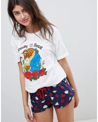 New Look - White Beauty And The Beast Pajama Tee And Short Set - Lyst