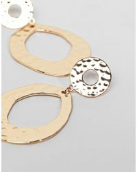 Monki - Metallic Hammered Metal Circle Earrings In Gold Colour - Lyst