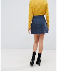 ASOS Blue Tailored Uber High Waist Mini Skirt With Button Through And Pocket Detail