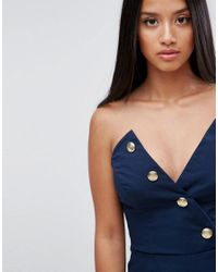 ASOS - Blue Tailored Bandeau Jumpsuit With Military Detailing - Lyst