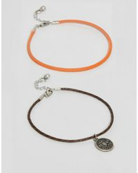 ASOS | Orange 2 Pack Anklet With Burnished Coin | Lyst
