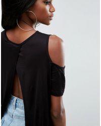 ASOS - Black Top With Cold Shoulder And Split Back - Lyst