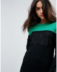 ASOS - Black Knitted Mini Dress In Colourblock With Lace - Lyst