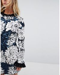 Millie Mackintosh - Blue Embellished Ruffle Mini Dress - Lyst