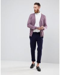 ASOS - Purple Merino Wool Cardigan In Lilac for Men - Lyst