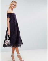 ASOS DESIGN - Blue Asos Off The Shoulder Lace Prom Midi Dress - Lyst