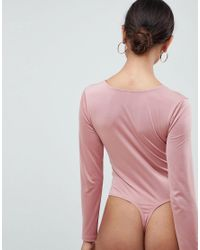 ASOS - Brown Asos Design Petite Body With Long Sleeves And Knot Front Plunge - Lyst
