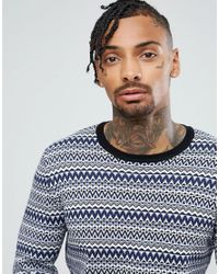 ASOS - Cotton Fairisle Sweater In Blue for Men - Lyst