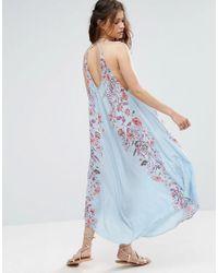 Free People - Blue Ashbury Printed Maxi Slip Dress - Lyst