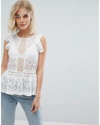 Miss Selfridge - White Lace Peplum Top - Lyst