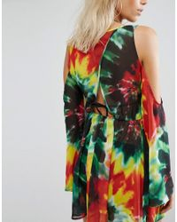Jaded London - Multicolor Tie Dye Print Cold Shoulder Beach Dress - Lyst