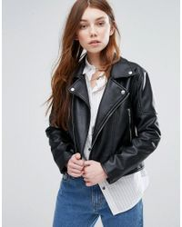 Barney's Originals - Black Faux Leather Biker Jacket - Lyst