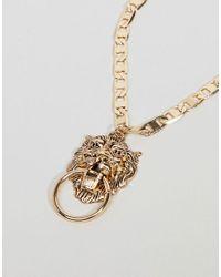 ASOS - Metallic Asos Design Curve Exclusive Lionhead Door Knocker Necklace - Lyst