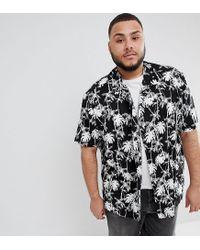 ASOS - Black Design Plus Oversized Hawaiian Palm Tree Shirt With Revere Collar for Men - Lyst