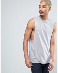 be85db11f31ea Lyst - ASOS Sleeveless T-shirt With Dropped Armhole In Gray in Gray ...