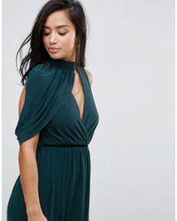 ASOS - Green Cold Shoulder Detail Plunge Maxi Dress - Lyst
