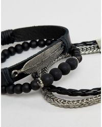 ASOS - Leather And Chain Bracelet Pack In Black With Feather for Men - Lyst