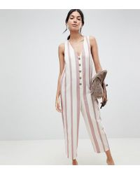6dbe07ed1e8 ASOS Asos Design Tall Jumpsuit In Stripe With Horn Button Detail - Lyst