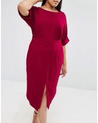 ASOS - Purple Wiggle Dress With Split Front - Lyst