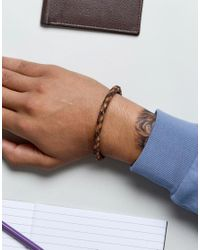 Fossil - Plaited Leather Bracelet In Brown for Men - Lyst