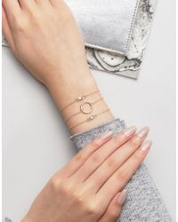 ASOS - Metallic Pack Of 3 Fine Open Circle And Opal Stone Bracelets - Lyst