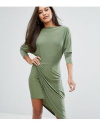 Club L   Green Slashed Neck Midi Dress With Wrap Skirt   Lyst
