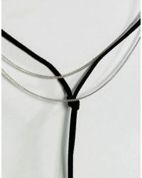 ASOS - Metallic Simple Bolo And Chain Multirow Choker Necklace - Lyst