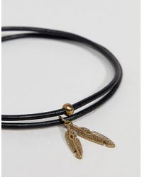 ASOS - Black Design Plus Leather Anklet With Feather - Lyst