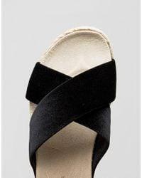 New Look - Black Velvet Espadrille Flatform Sandal - Lyst