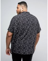 ASOS - Black Plus Regular Fit Viscose Shirt With Fan Print for Men - Lyst