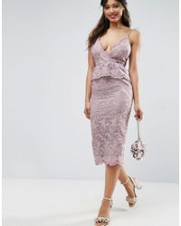 ASOS - Purple Salon Scallop Seashell Lace Pencil Midi Dress - Lyst